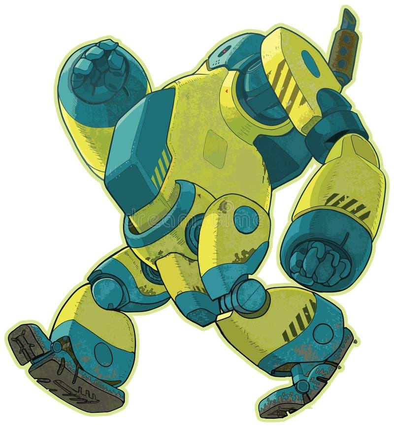 Reus die geel robot vectorbeeldverhaal lopen stock illustratie