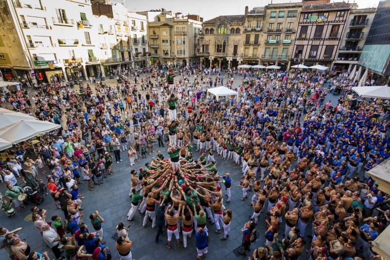 Reus, Spagna - 17 giugno 2017: Prestazione di Castells, immagine stock