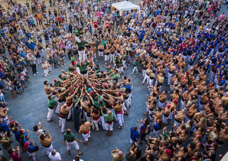 Reus, Spagna - 17 giugno 2017: Prestazione di Castells, fotografia stock