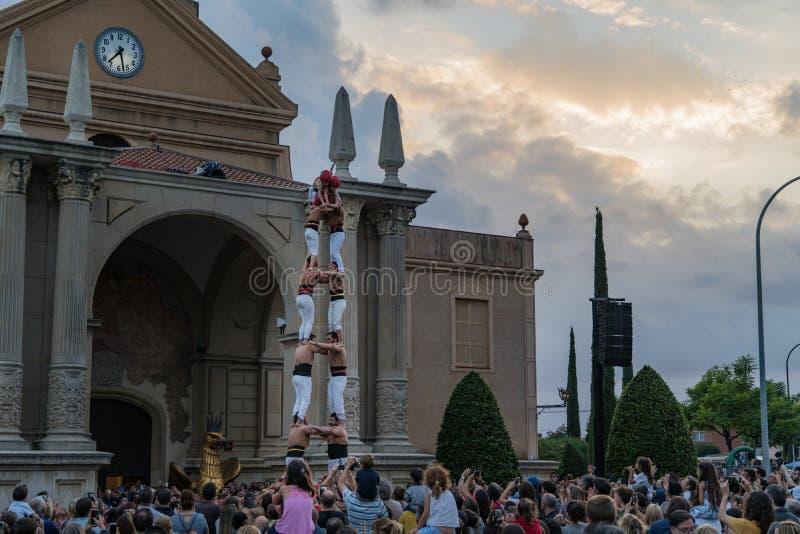 Reus, Spagna Settembre 2018: Castells o prestazione umana delle torri immagine stock