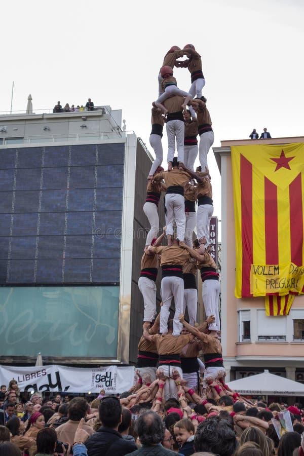 REUS SPANIEN - APRIL 23, 2017: Castells kapacitet fotografering för bildbyråer