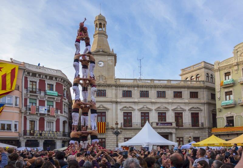 REUS, SPANJE - APRIL 23, 2017: Castellsprestaties stock fotografie