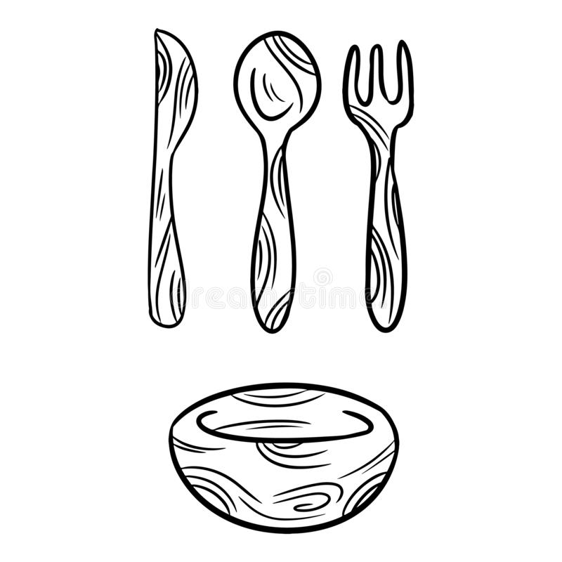 Reusable bamboo kithcenware set of doodles. Zero waste recyclable kitchen tableware. Eco-friendly disposable fork, knife, spoon,. Plate. Isolated vector stock illustration