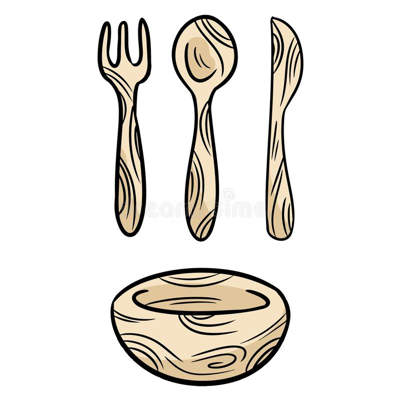 Reusable bamboo kithcenware set of doodles. Zero waste recyclable kitchen tableware. Eco-friendly disposable fork, knife, spoon,. Plate. Isolated vector vector illustration