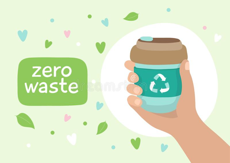 Reusable coffee cup - illustration with lettering. Sustainable lifestyle, zero waste, ecological concept. Vector illustration in cartoon style royalty free illustration