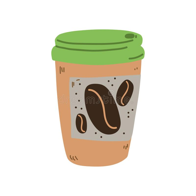 Reusable Coffee Cup, Zero Waste Object, Eco lifestyle Concept Vector Illustration. On White Background royalty free illustration