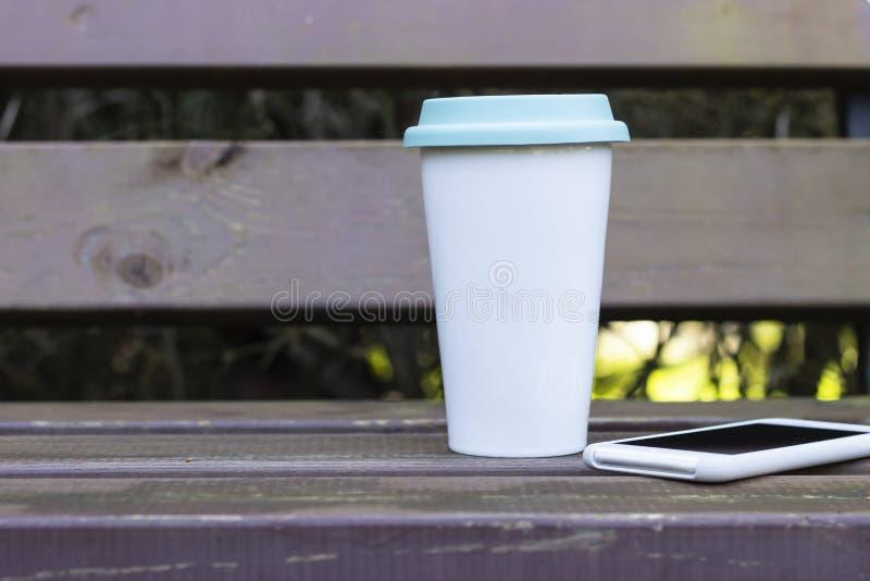 Reusable ecofriendly cup. Copy space for text. Reusable ecofriendly coffee cup. Copy space for text. Zero waste concept stock photos