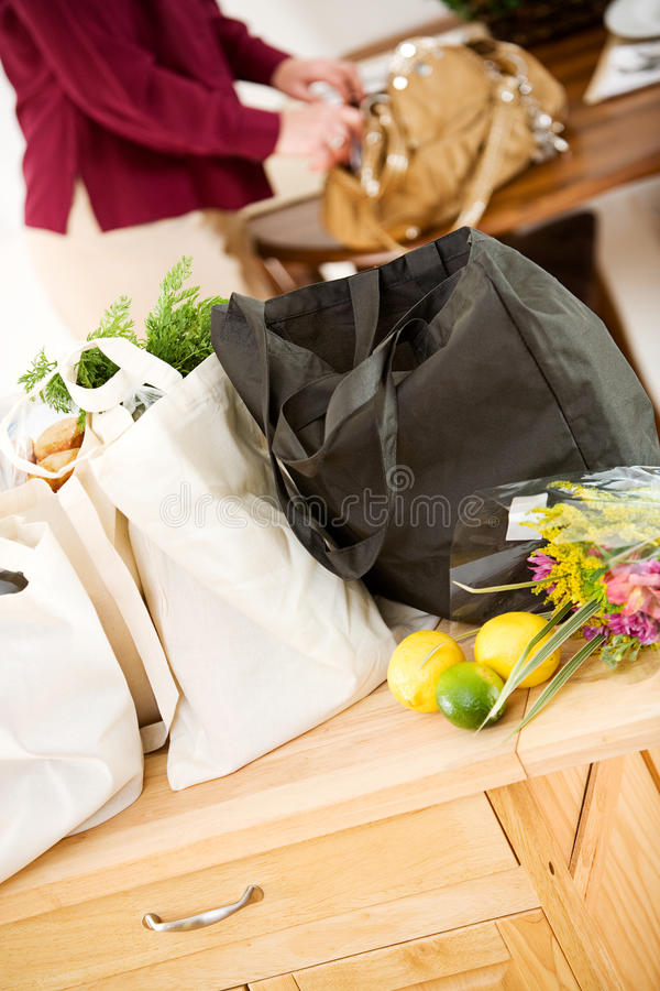 Reusable: Focus on Full Bags of Groceries stock photography