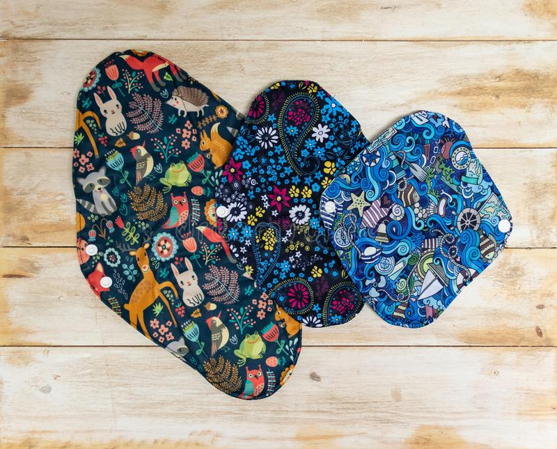 Reusable Sanitary Menstrual Pads With Slogan, Washable Cloth Pads After Using And Washing, Zero Waste Concept Stock Image - Image of period, care: 153673851