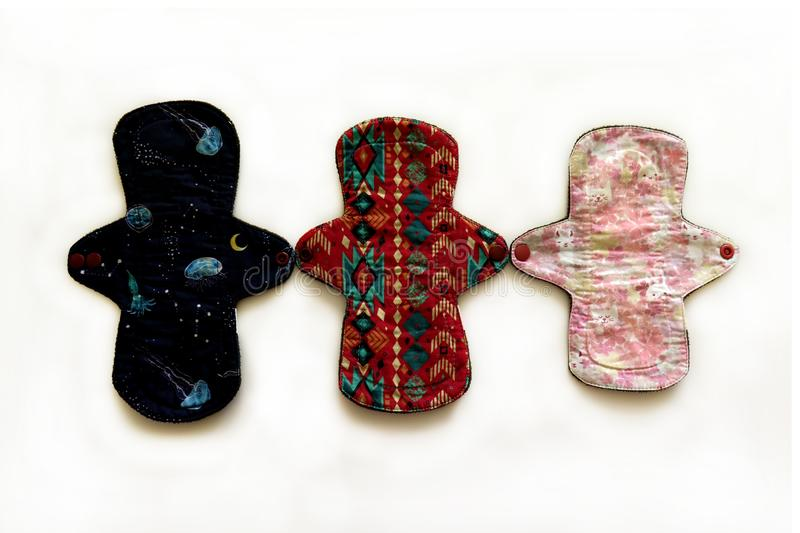 Reusable sanitary menstrual pads, Set of Washable cloth pads after Periods, Eco Women Pads, Zero Waste Concept stock photo