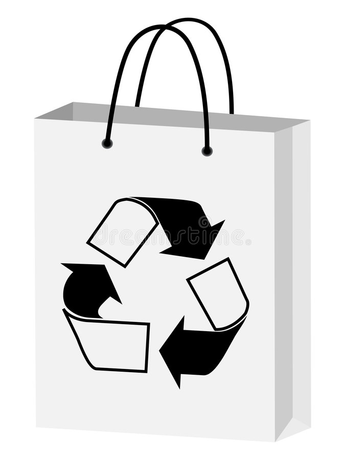 Reusable shopping bag. Isolated on white background stock illustration