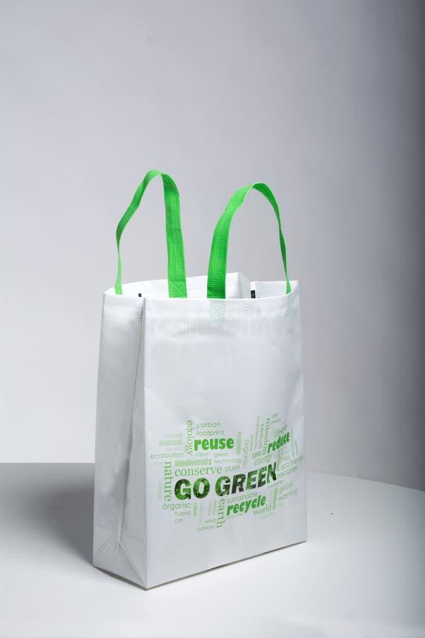 Reusable Shopping Bags Non Woven Tote Bag Go Green Eco Friendly Bag. Reusable Shopping Bags Non Woven Tote Bag Go Green Eco Friendly stock photo