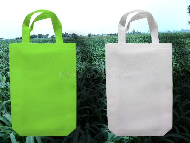 White and Green Bag, Eco Friendly Bag, PP Non Woven Bag. Reusable Shopping Bags Non Woven Tote Bag Go White and Green Bag, Eco Friendly Bag, Non Woven Bag Green royalty free stock image