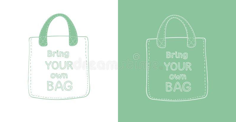 Reusable tekstylna eco torba Przynosi twój swój torby ręka rysującego literowanie Odosobniony kontur ilustracji