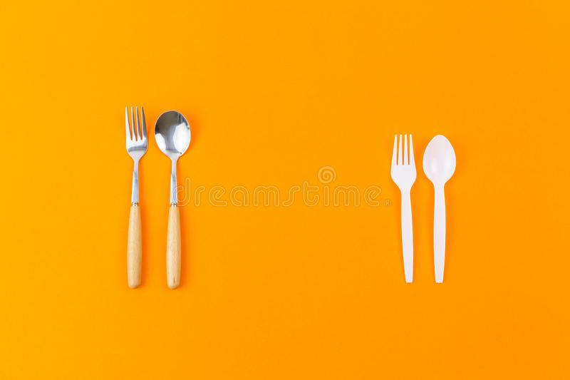 Reusable vs disposable utensil royalty free stock images
