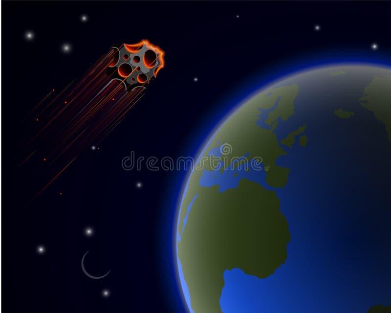 Reusachtig stervormig Florence vliegt dichtbij aan de aarde De waarschijnlijkheid van een catastrofe wereldwijd royalty-vrije illustratie