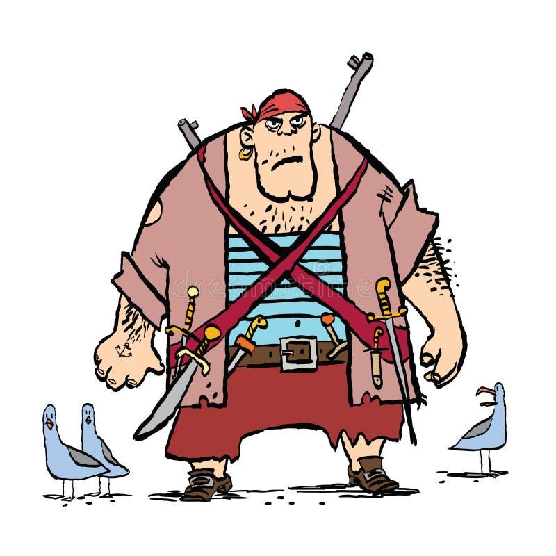 Reusachtige grappige piraat en zeemeeuwen royalty-vrije illustratie