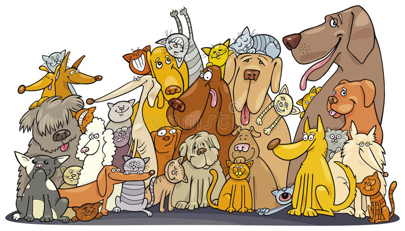 Reusachtige groep Katten en Honden stock illustratie