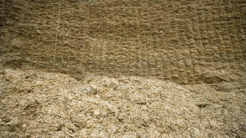 Reusachtige hooiberg lengte Ruwe reusachtige muur van samengeperst hooi voor voorraad in de winter voor het voeden van veevee Lan stock foto