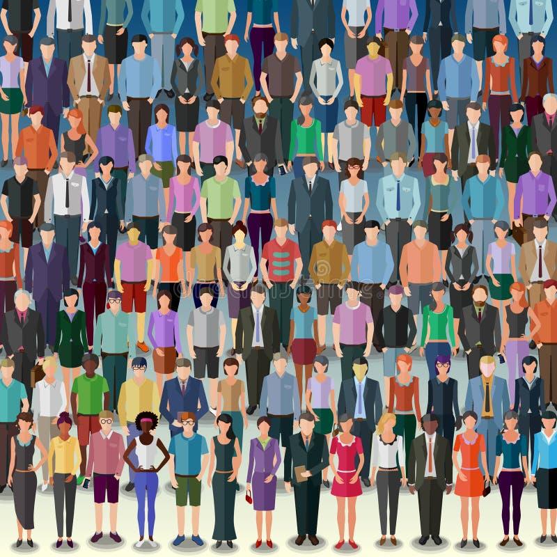 Reusachtige menigte van mensen royalty-vrije illustratie