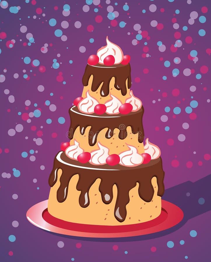 Reusachtige partijcake met chocoladeverglazing stock foto