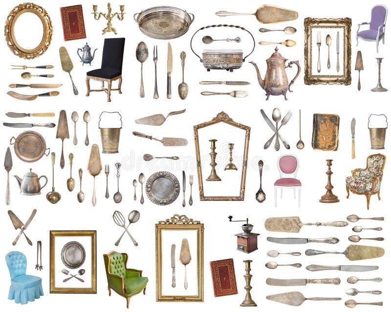 Reusachtige reeks antieke punten Uitstekende huishoudenpunten, tafelzilver, meubilair en meer Geïsoleerdj op witte achtergrond stock afbeeldingen
