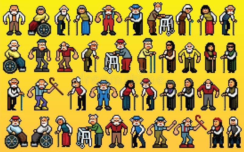 Reusachtige reeks oude mensenavatars - de lagen vectorillustratie van de pixelkunst royalty-vrije illustratie
