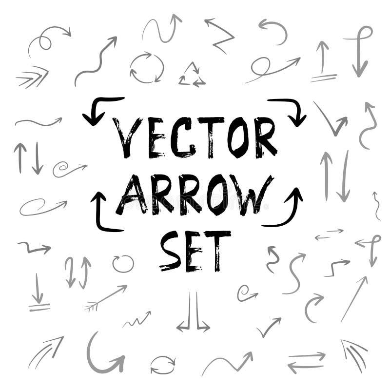 Reusachtige Reeks van de Handdrown de Vector Met de hand gemaakte Pijl Waterverf binnen royalty-vrije illustratie