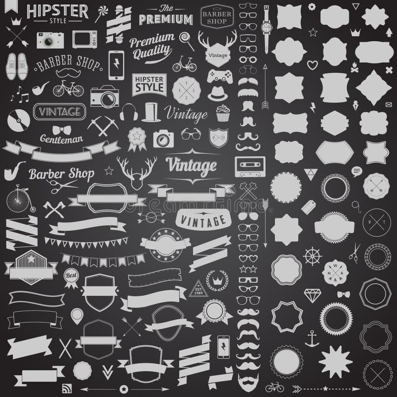 Reusachtige reeks wijnoogst gestileerde ontwerp hipster pictogrammen Vectortekens en symbolenmalplaatjes voor uw ontwerp royalty-vrije illustratie