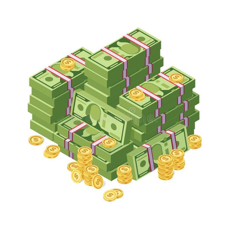 Reusachtige stapel van het geld van het dollarcontante geld en gouden muntstukken vectorillustratie vector illustratie