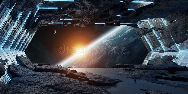 Reusachtige stervormige ruimteschip binnenlandse 3D teruggevende elementen van deze I vector illustratie