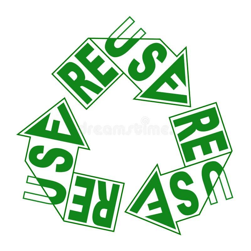 Reuse kreatywnie literowanie na zieleni przetwarza strzała znaka ekologii etykietka oprócz Eart pojęcia, wektor ilustracji