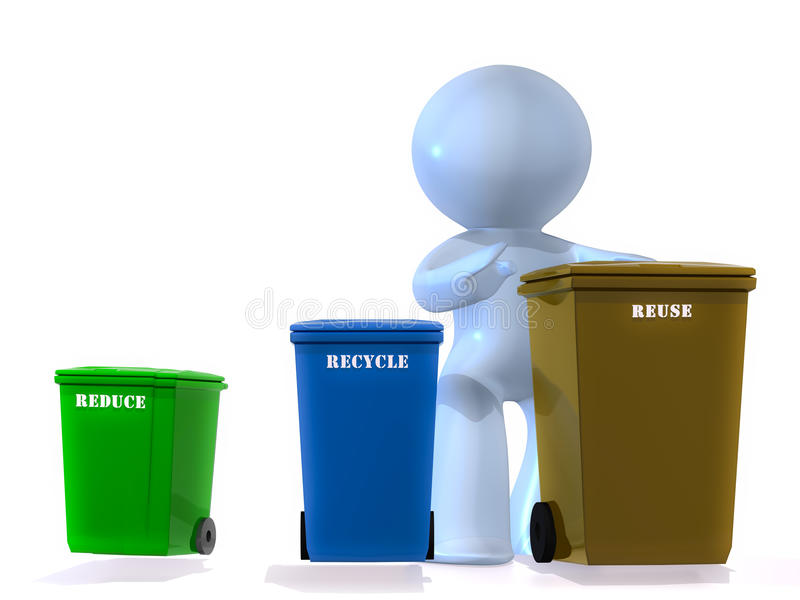 Reuse, Recycle, Reduce !. Person with three bins for reuse, recycle and reduce. Concept image isolated on white background royalty free illustration