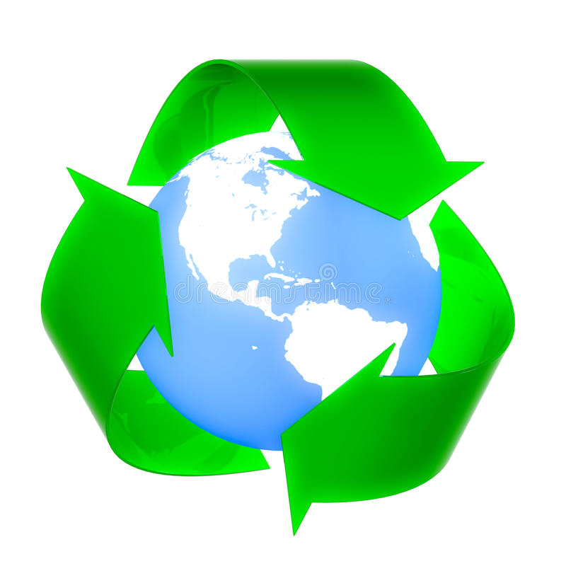 Reuse, Recycle, Reduce !. Reuse, Recycle, Reduce logo with earth in the center. Concept image isolated on white background royalty free illustration