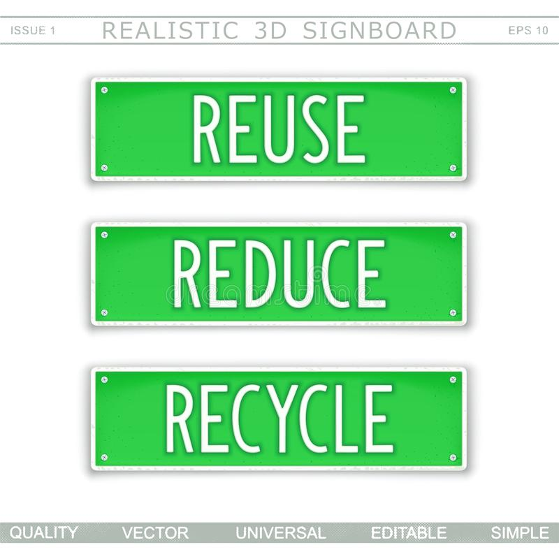 Reuse. Reduce. Recycle. Eco concept. Signboard stylized car license plate. Top view. Vector design elements stock illustration