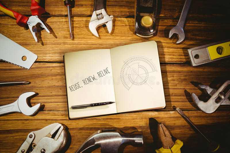 Reuse, renew, relive against blueprint stock illustration