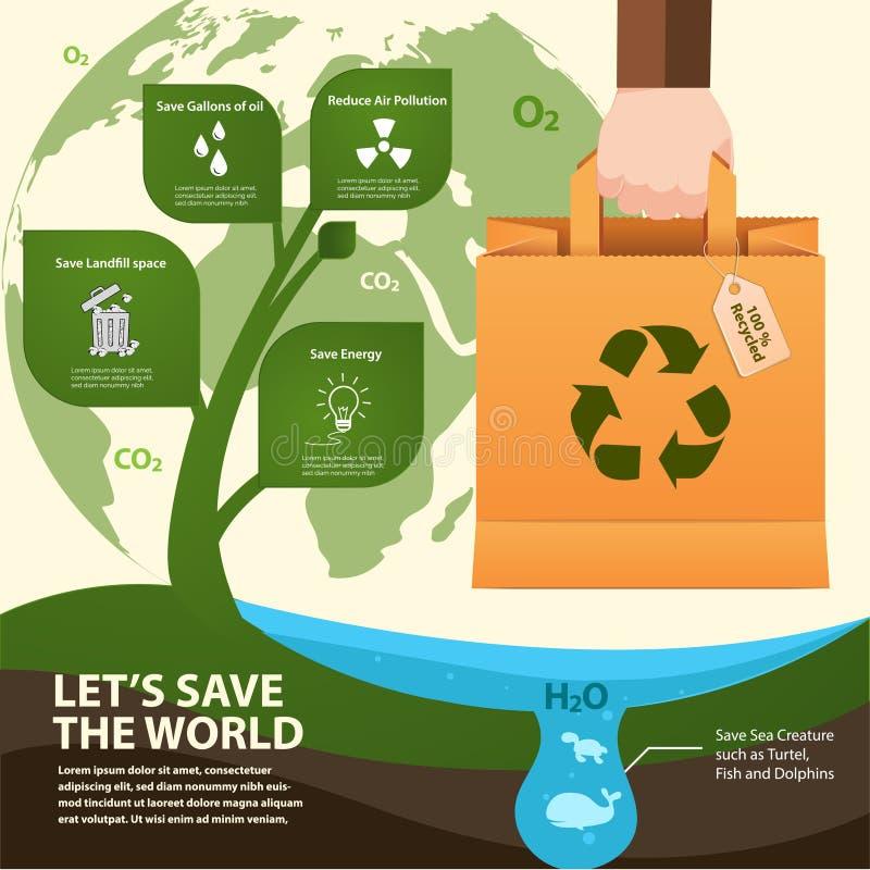 A reutilização do saco de papel e recicla infographic Illstration do vetor ilustração stock