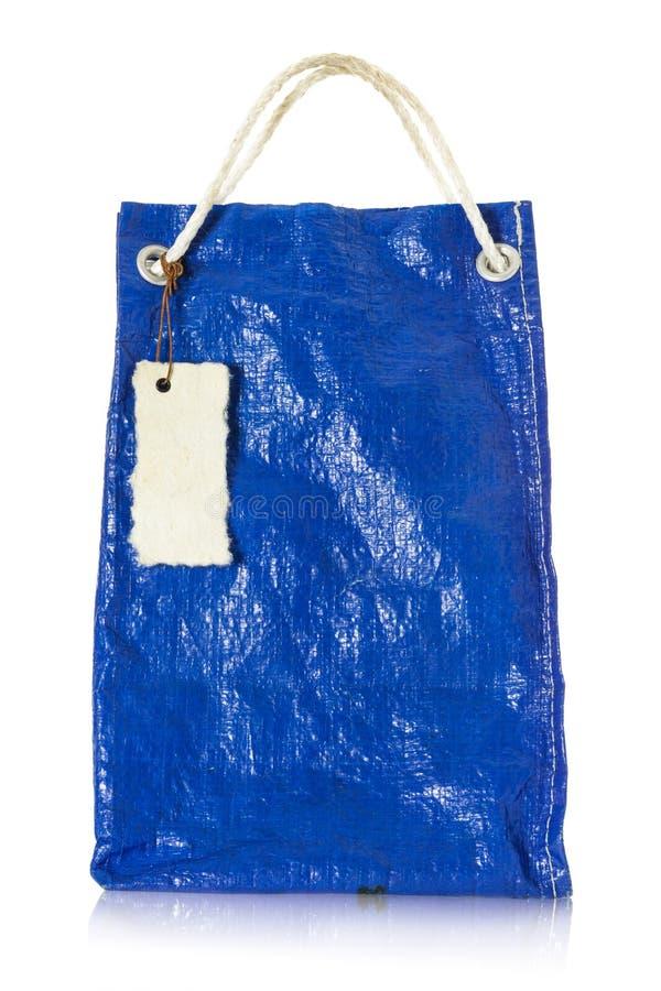 Reutilización plástica del bolso azul foto de archivo libre de regalías