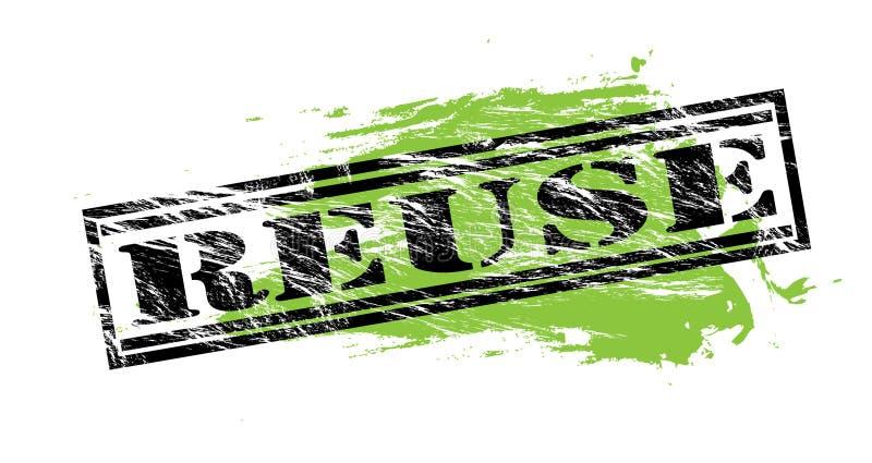 Reutilize o selo preto e verde no fundo branco ilustração royalty free