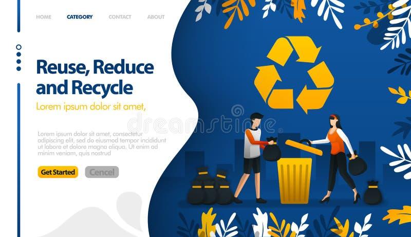 Reutilize, reduza e recicle com ilustrações dos baldes do lixo e o conceito da ilustração do vetor das pilhas do lixo da cidade p ilustração royalty free