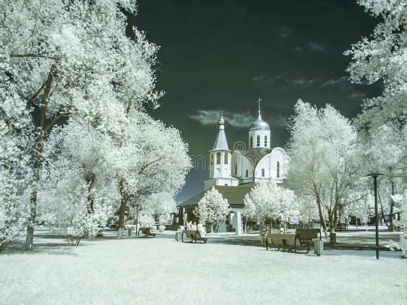Reutov. Church of the Kazan Mother of God. Infrared photography royalty free stock images