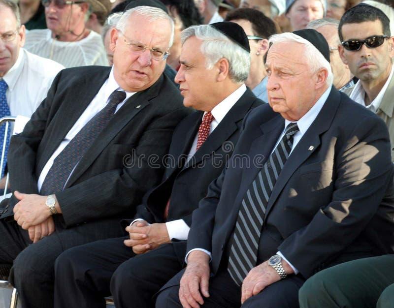 Reuven Ruby Rivlin, Moshe Katsav, en Ariel Sharon stock fotografie