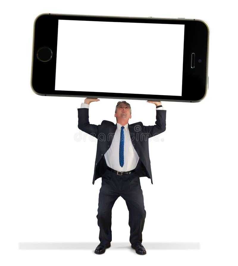 Reuze de cel slimme telefoon w van de mensenholding het lege scherm stock foto