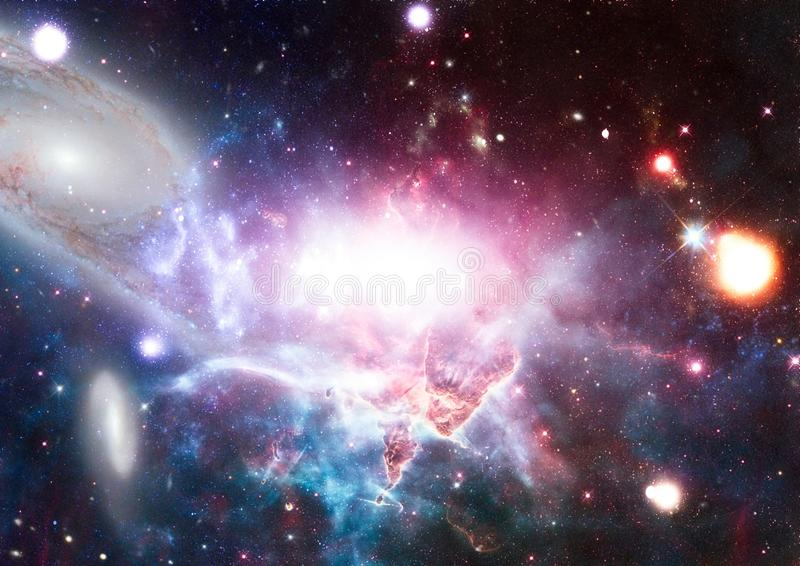 Reuze gloeiende nevel Ruimteachtergrond met rode nevel en sterren Elementen van dit die beeld door NASA wordt geleverd stock illustratie