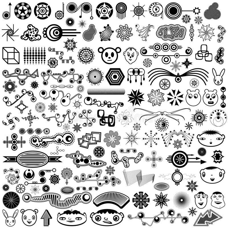 Reuze Inzameling van de Unieke VectorElementen van het Ontwerp vector illustratie