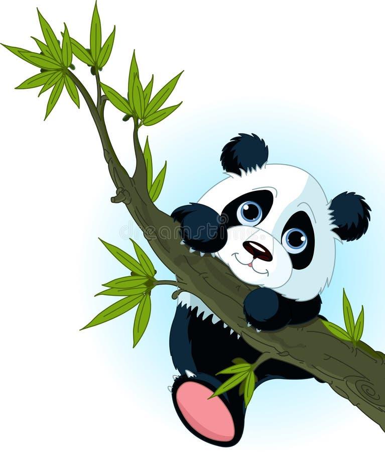 Reuze panda die boom beklimt stock illustratie