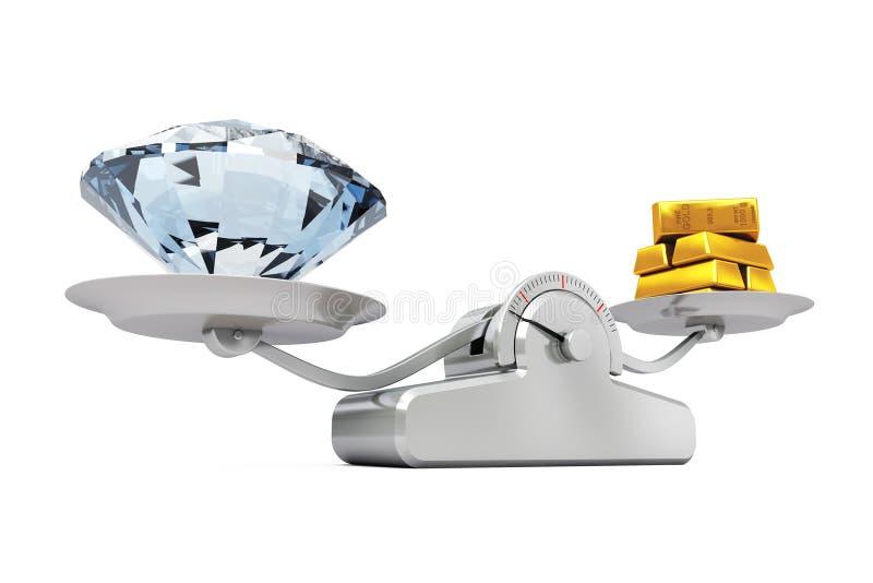 Reuzediamant met Gouden Bars die op een Eenvoudige Weging S in evenwicht brengen stock illustratie