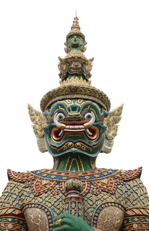 ReuzedieTribune voor Tempel in Wat Phra Keaw op wit wordt gevestigd royalty-vrije stock afbeeldingen