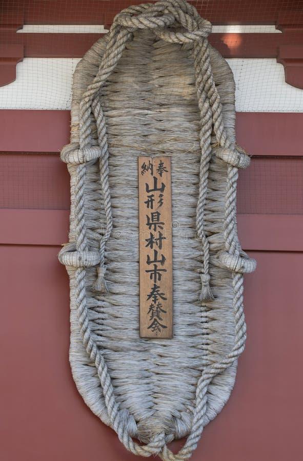 ReuzedieWaraji-sandelhout, als charme wordt gebruikt om kwaad bij Hozomon-Poort af te weren stock fotografie