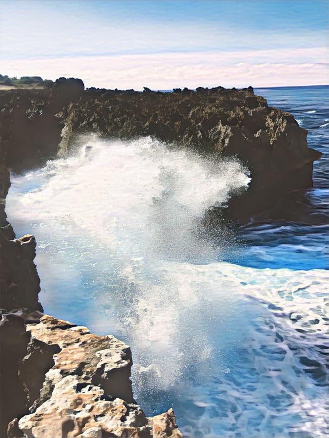 Reuzegolfonderbrekingen op rots Uitstekende digitale illustratie van reusachtige oceaanmacht royalty-vrije illustratie